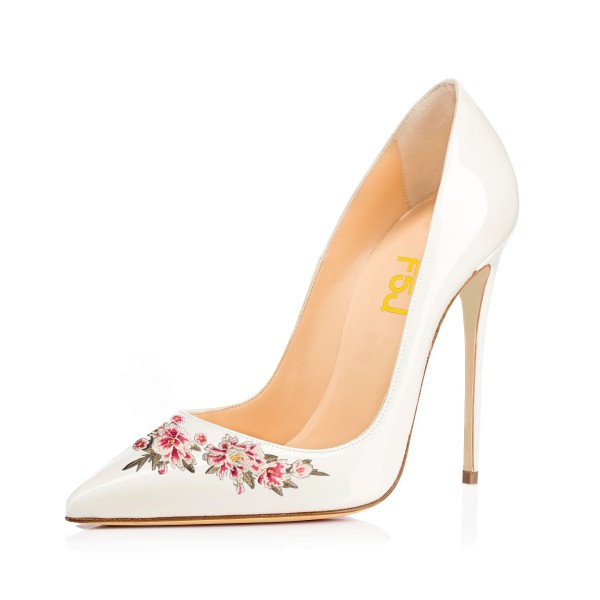 Women's White Pointy Toe Floral Office Heels Stiletto Pumps image 1