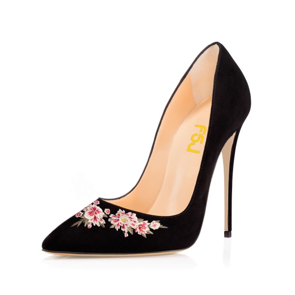 Women's Black Pointy Toe Suede Floral Office Heels Stiletto Heels Pumps image 1