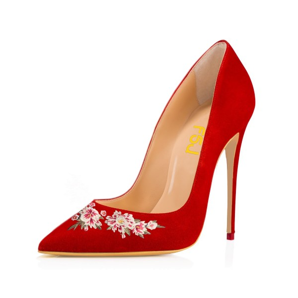 Women's Red Pointy Toe Suede Floral Office Heels Stiletto Heels Pumps image 1