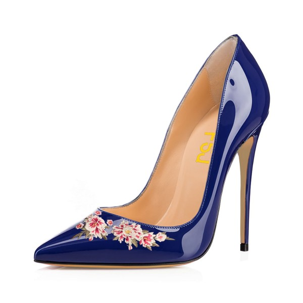 Women's Navy Pointy Toe Floral Office Heels Stiletto Pumps image 1