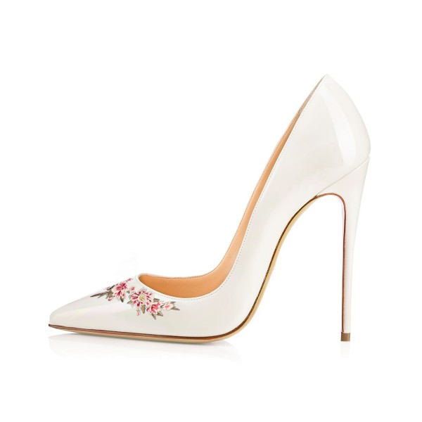 Women's White Pointy Toe Floral Office Heels Stiletto Pumps image 2