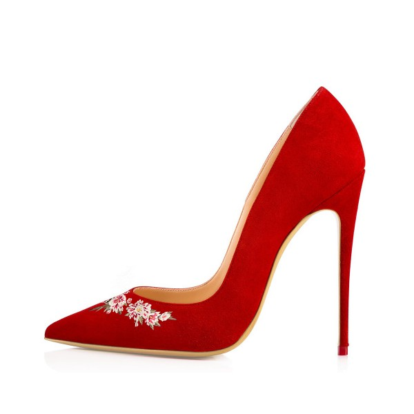 Women's Red Pointy Toe Suede Floral Office Heels Stiletto Heels Pumps image 2