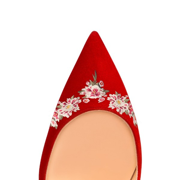 Women's Red Pointy Toe Suede Floral Office Heels Stiletto Heels Pumps image 3
