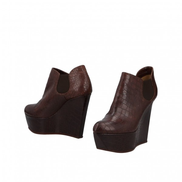 Chocolate Round Toe Wedge Booties Casual Platform Ankle Boots image 1