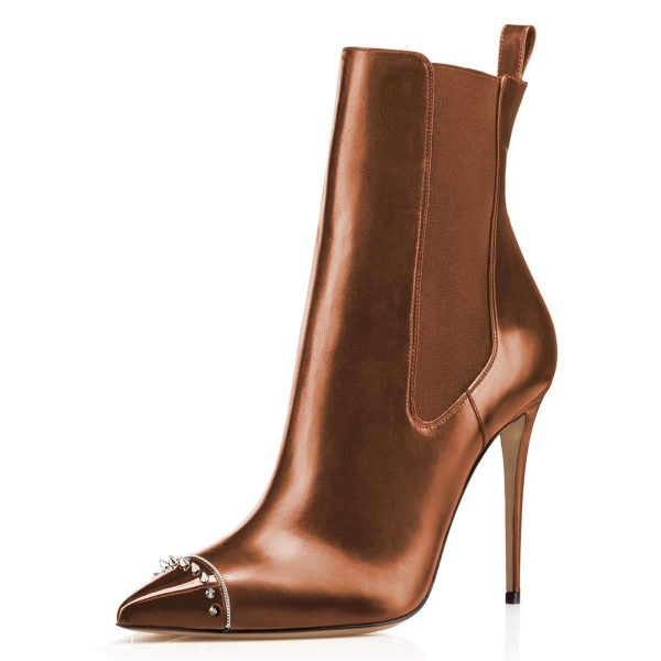 Chocolate Studded Pointy Toe Stiletto Boots Fashion Ankle Booties image 1