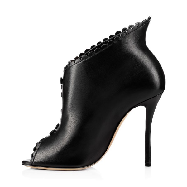 Black Laciness Fashion Boots Peep Toe Buttoned Stiletto Ankle Booties image 3