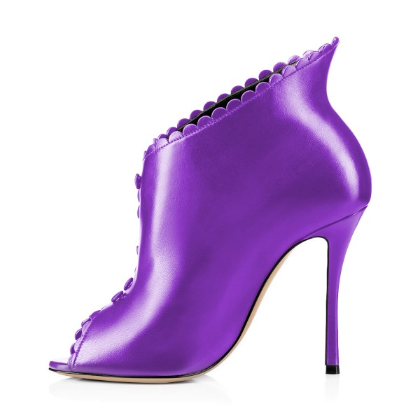 Purple Laciness Fashion Boots Peep Toe Buttoned Stiletto Ankle Booties image 3