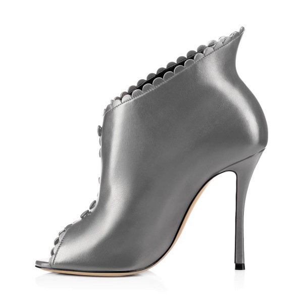 Grey Laciness Fashion Boots Peep Toe Buttoned Stiletto Ankle Booties image 3