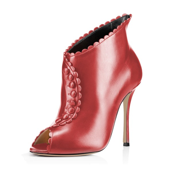 Red Laciness Fashion Boots Peep Toe Buttoned Stiletto Ankle Booties image 1