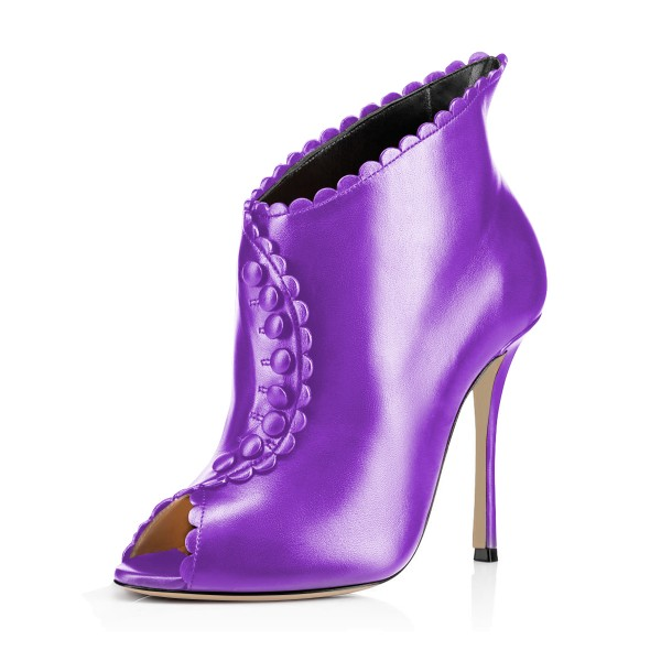 859eff435 Purple Laciness Fashion Boots Peep Toe Buttoned Stiletto Ankle Booties  image 1 ...