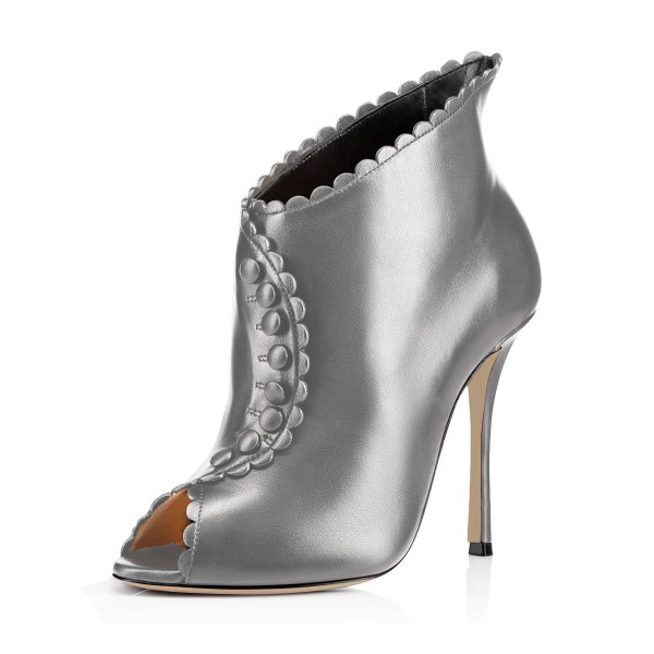 Grey Laciness Fashion Boots Peep Toe Buttoned Stiletto Ankle Booties image 1