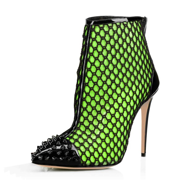 Green mesh Stiletto Boots Rivets Pointy Toe Summer Ankle Boots  image 1