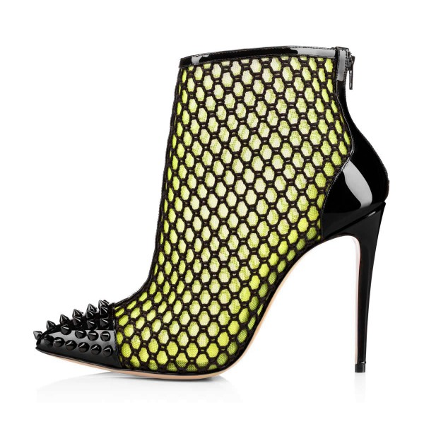 Fluorescent Green Summer Boots Mesh Stiletto Heel Rivets Ankle Boots  image 3