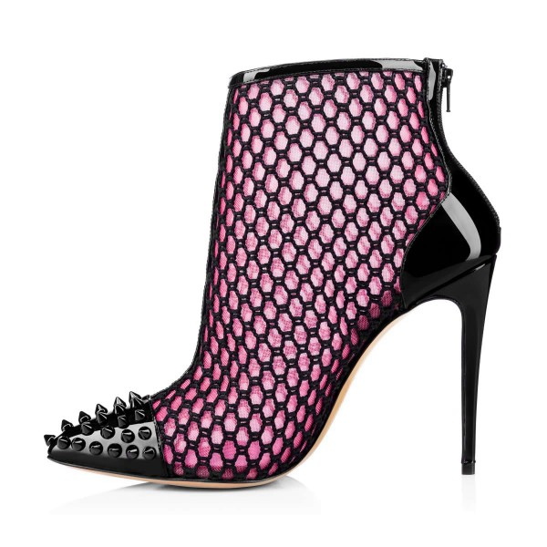 Women's Pink Net Stiletto Heels with Rivets Pointed Toe Ankle Booties image 4