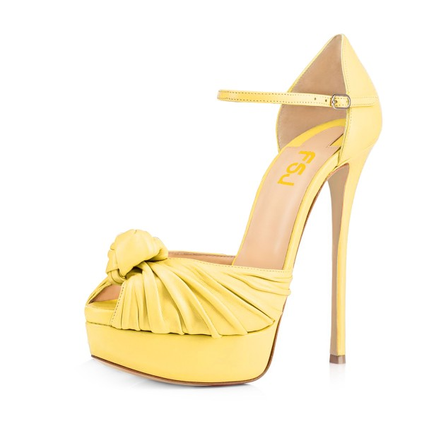 Women's Yellow Peep Toe with Bow Stiletto Heels Platform Sandals  image 1