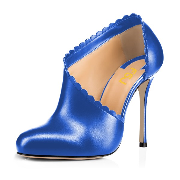 Women's Blue Summer Boots Commuting Stiletto Heels Round Toe  Ankle Booties  image 1