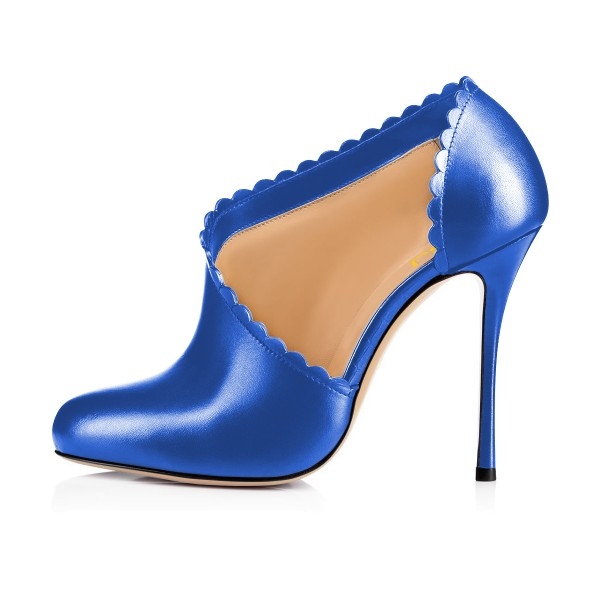Women's Blue Summer Boots Commuting Stiletto Heels Round Toe  Ankle Booties  image 3