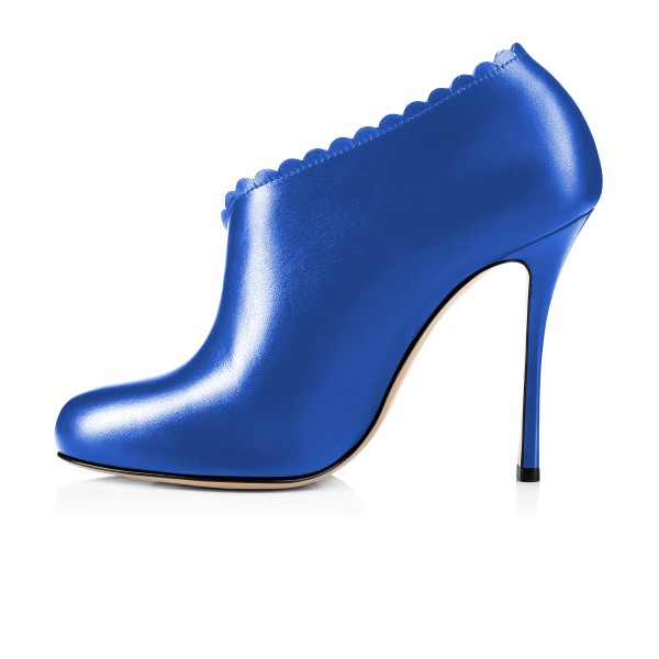 Women's Blue Summer Boots Commuting Stiletto Heels Round Toe  Ankle Booties  image 4