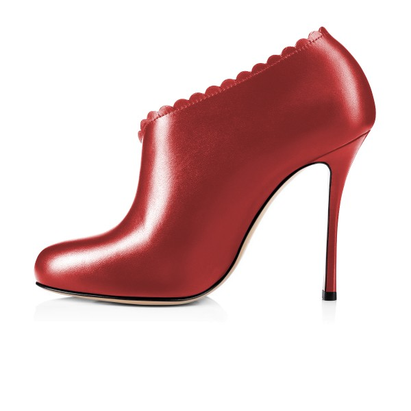 Women's Red Summer Boots Commuting Stiletto Heels Round Toe  Ankle Booties  image 4