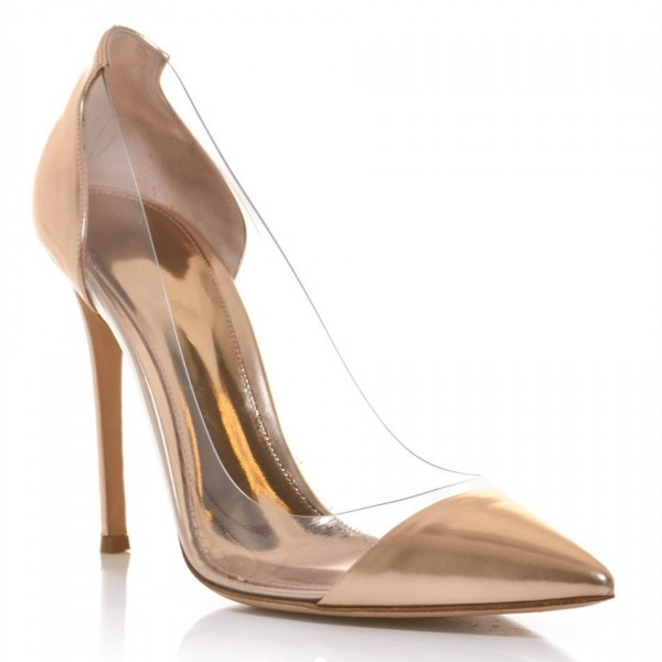 Women's Champagne Dress Shoes  Pointy Toe Stiletto Clear Heels Pumps  image 4