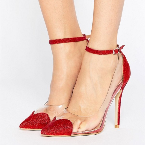 Clear Heels Red Transparent Ankle Strap Pointy Toe Stiletto Heel Pumps image 2