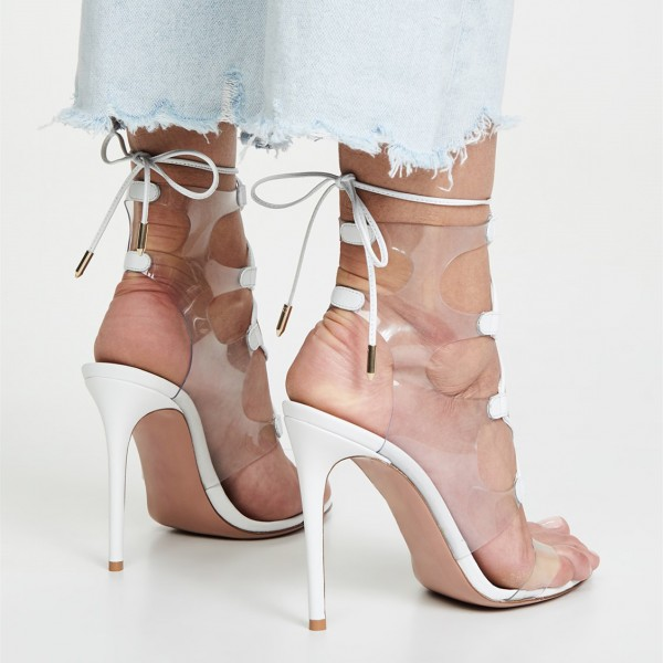 White Clear Heels PVC Lace Up Stiletto Heel Sandals image 5