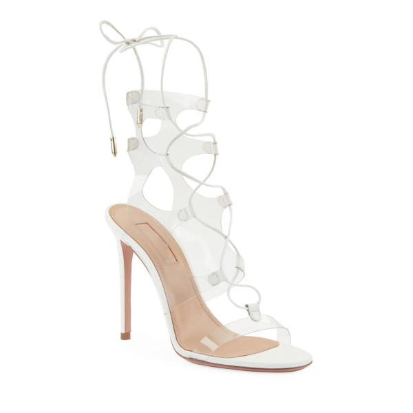 White Clear Heels PVC Lace Up Stiletto Heel Sandals image 2