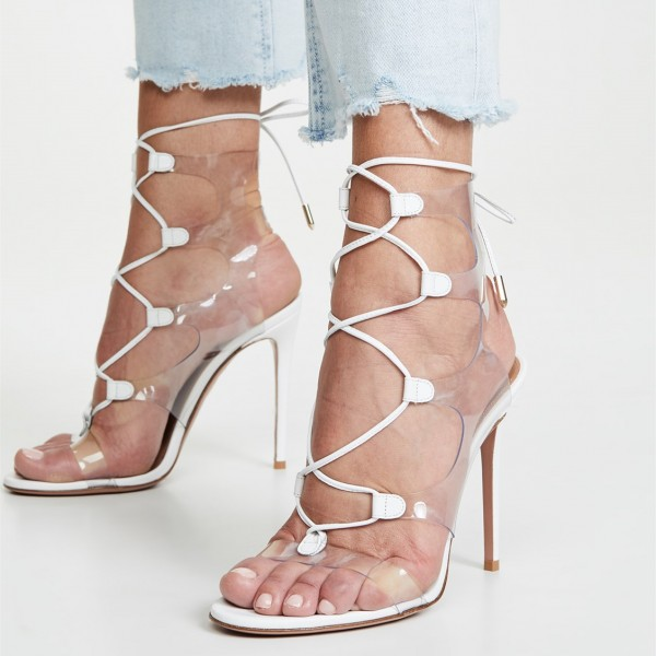 White Clear Heels PVC Lace Up Stiletto Heel Sandals image 4