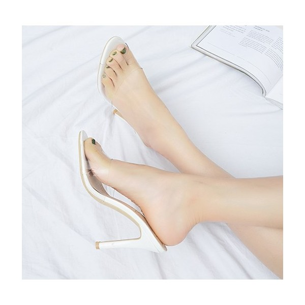 White and Clear Mule Heels Peep Toe Stiletto Heels US Size 3-15 image 2