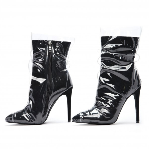 Clear PVC Wrapped Black Pointy Toe Stiletto Boots image 4