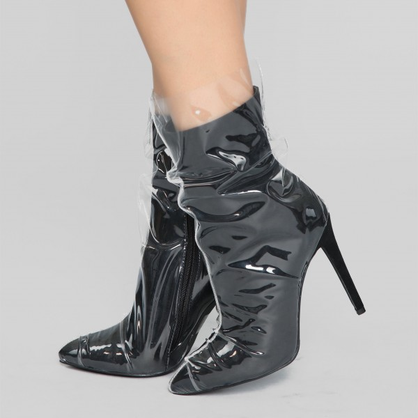 Clear PVC Wrapped Black Pointy Toe Stiletto Boots image 5
