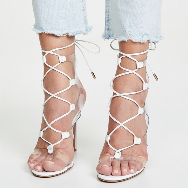 White Clear Heels PVC Lace Up Stiletto Heel Sandals image 6