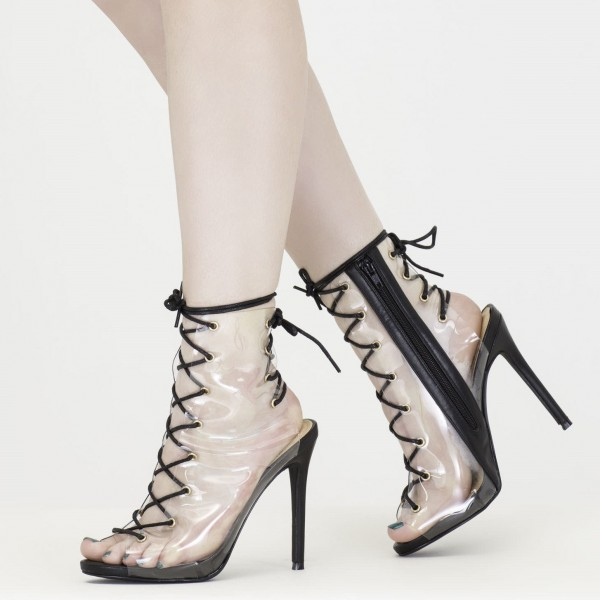 Clear Summer Boots Lace up Slingback Stiletto Heel Ankle Booties image 1