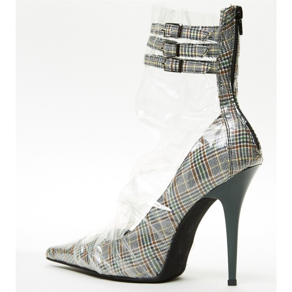 Clear Wrapped Plaid Pointy Toe Stiletto Heel Ankle Strap Heels Pumps image 2