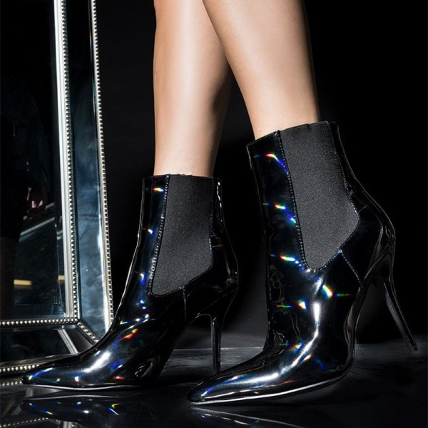 Black Patent Leather Chelsea Boots Stiletto Heel Ankle Boots image 1