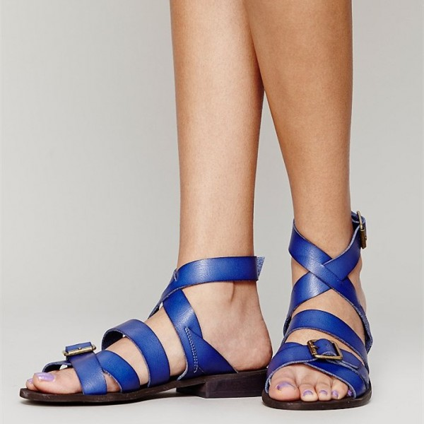 Women's Blue  Buckle  Flats Gladiator Sandals image 3
