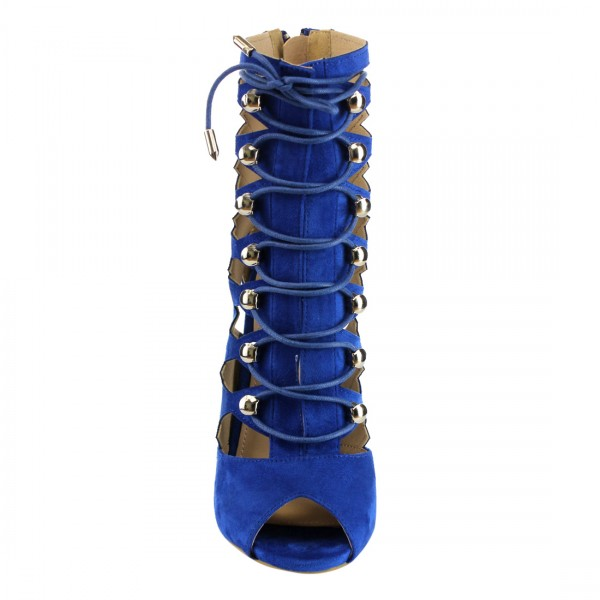 Cobalt Blue Shoes Hollow out Suede Lace up Stiletto Heel Summer Boots image 2