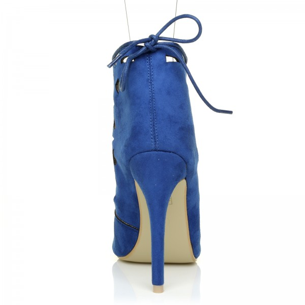 Royal Blue Lace up Heels Laser Cut Suede Peep Toe Heels  image 3