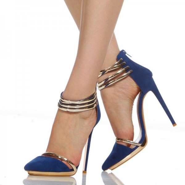 Cobalt Blue Shoes Metal Stiletto Heel Closed Toe Sandals image 1