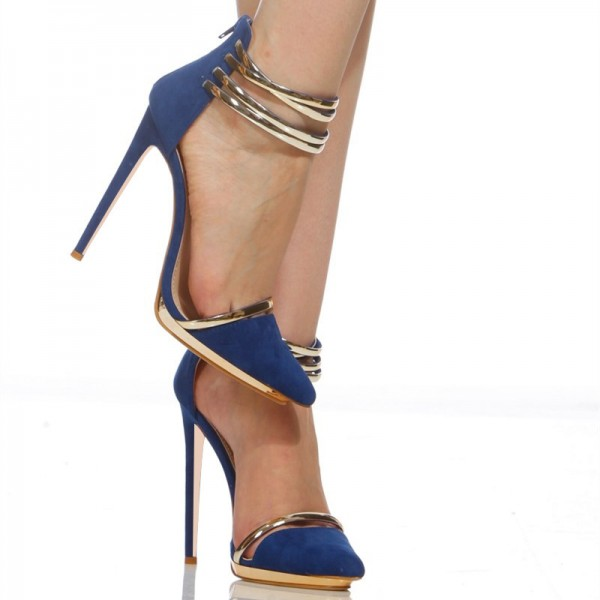 Cobalt Blue Shoes Metal Stiletto Heel Closed Toe Sandals image 4