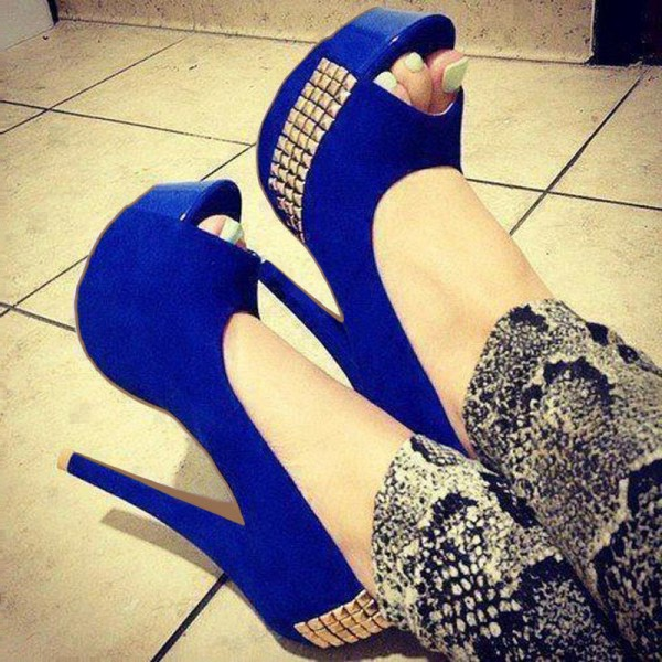Cobalt Blue Shoes Peep Toe Suede Platform Pumps Studs Shoes  image 1