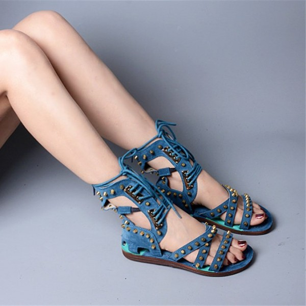Women's Blue Denim Lace Up Open Toe Strappy Sandals image 5