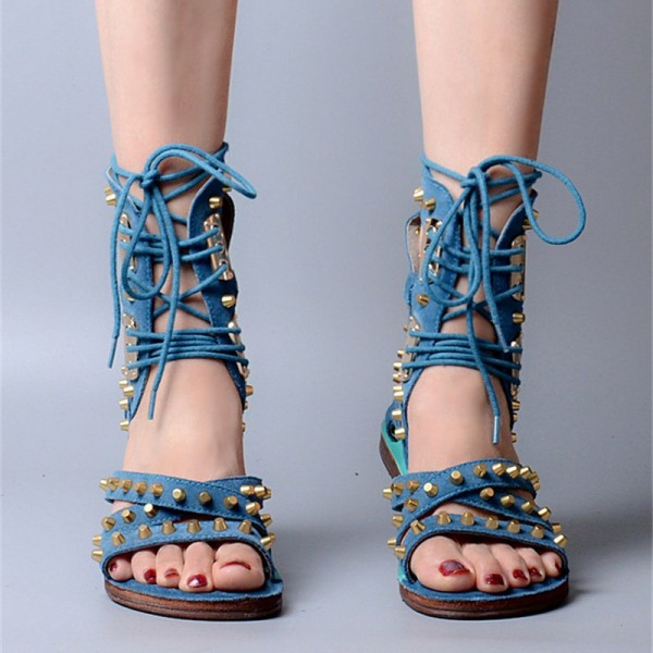 Women's Blue Denim Lace Up Open Toe Strappy Sandals image 3