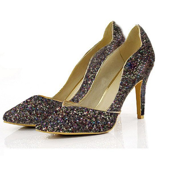 Colorful Glitter Shoes Pointy Toe Low Cut Upper Pumps image 1
