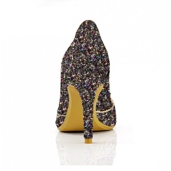 Colorful Glitter Shoes Pointy Toe Low Cut Upper Pumps image 3