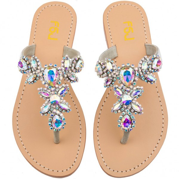 Colorful Jeweled Sparkly Sandals Flat Summer Beach Flip Flops image 3