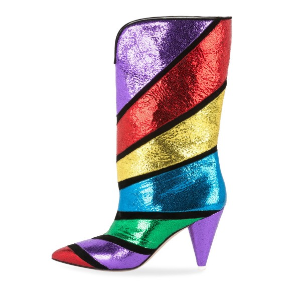 Colorful Pointy Toe Fashion Boots Cone Heel Mid Calf Boots image 3