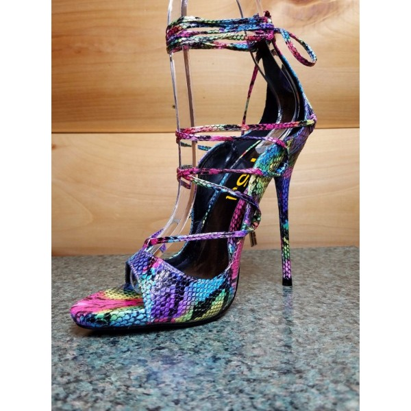 9234f34b5 ... Multi-color Strappy Sandals Lace up Stiletto Heel Sexy Shoes image 5 ...