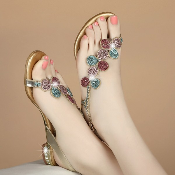5798b85cb Colorful Rhinestone Summer Sandals Open Toe Flat Shoes US Size 3-15 image 1  ...