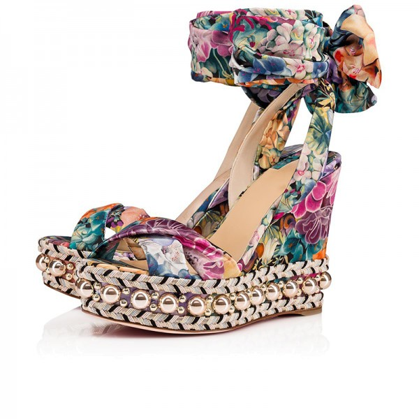 Colorful Satin Floral Heels Ankle Strap Platform Wedge Heel Sandals image 1